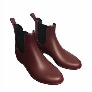 J. CREW Chelsea Boot Rain Boots Fall 2021 Burgundy